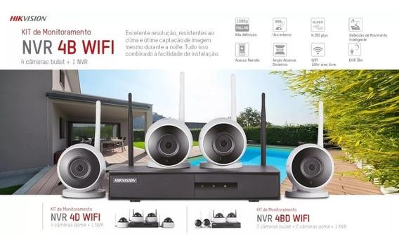 Kit Monitoramento Sem Fio Hikivision Com 4 Cameras E Hd 1tb
