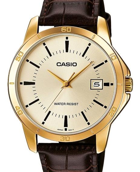 Relógio Casio Masculino Classico Couro Mtp-v004gl-9audf-br