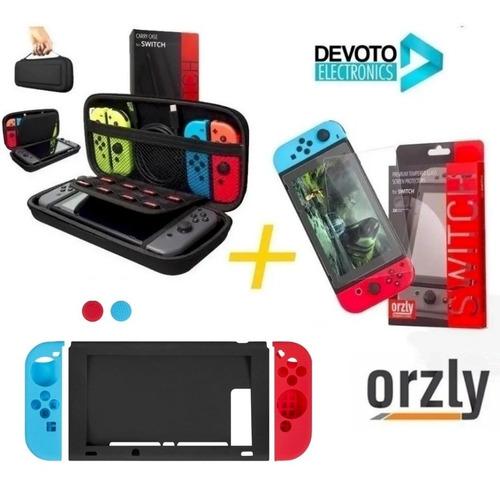 Imagen 1 de 6 de 7-1 Kit Funda Nintendo Switch Orzly + Vidrio 9h Premiun + Silicona Completo Estuche Accesorios Joy Con
