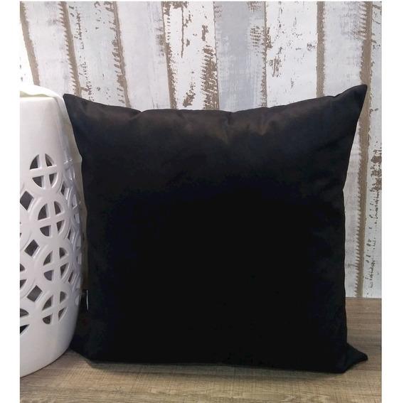 Almofada Decorativa Preta Liso Com Enchimento 45x45cm