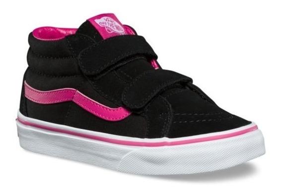 Zapatillas Vans Niña Sk8 Reissue V Abrojo Negro Fucsia!!!