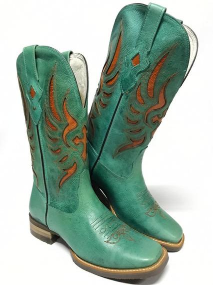 Bota Goyazes Texana Feminina Azul Turquesa Bordada
