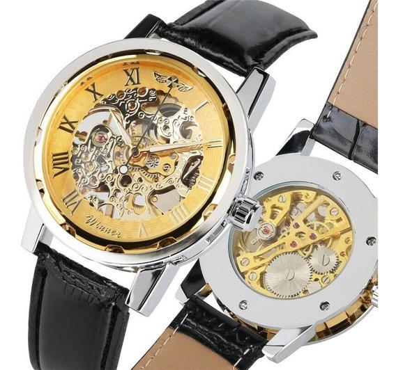 Reloj Mecanico Cuadrante, Piel, Casual, Envio Incluido
