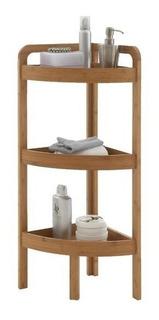 Mueble Esquinero Organizador De Baño De Bambu 3 Estantes