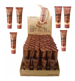 48 Base Soft Matte Clara Morena Ou Escura Ruby Rose Atacado