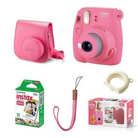 Kit Com Câmera Instax Mini9 Rosa Flamingo + Filme E Bolsa