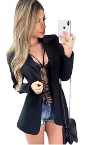 Blazer Max Longo Comprido Neoprene Sobretudo Moda 2019 Roupa