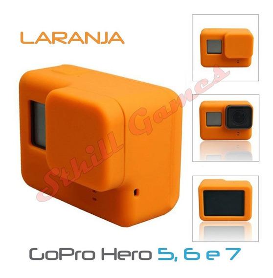 Capa Protetora + Tampa Em Silicone Gopro Hero 5,6 E 7 Laranj