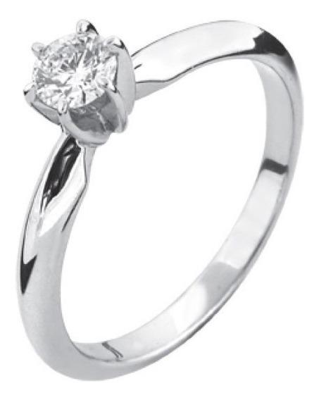 Anillo Con Diamante Natural Redondo 25 Pts. En Oro 14k.