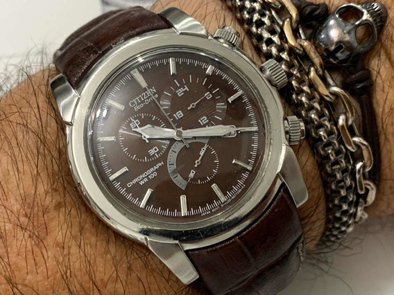 Citizen At0550-11x Eco-drive Chronograph Wr100 Japan