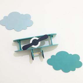Prateleira Avião + Nuvens Enfeite Decoração Quarto Infantil