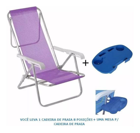 Kit Cadeira De Praia 8 Pos. Aço + 1 Mesa P/ Cadeira Mor