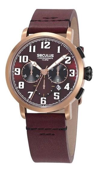 Seculus Relógio Cronógrafo Detalhes Rosé Couro Marrom