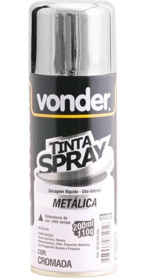 Tinta Spray Para Uso Geral Metálico Cromada 200ml Vonder Am