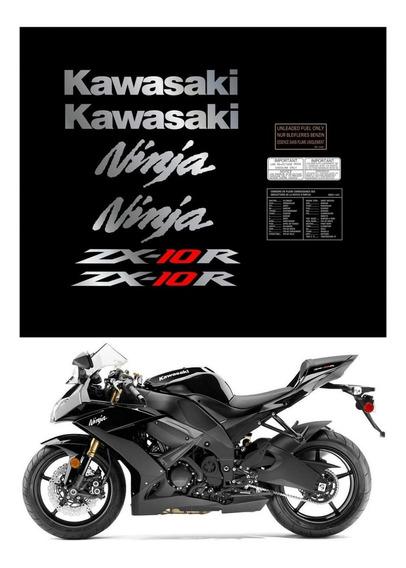 Kit Adesivos Moto Kawasaki Ninja Zx-10r 2010 Preta Ccr15983