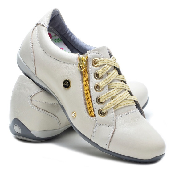 Sapato Tênis Feminino Em Couro Bmbrasil Casual Modern 218