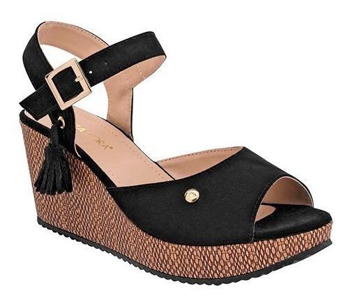 Sandalia Dama Huarache Negro/cafe Zapato Mujer Plataforma 80