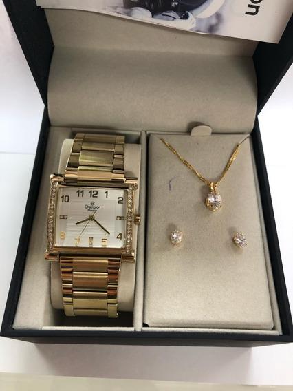 Relógio Feminino Champion Cn28768w + Kit =39