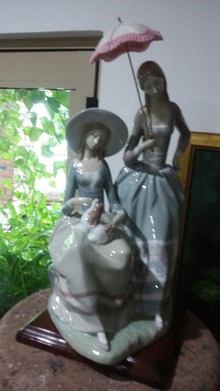 Lladro., Figura De Porcelana, Pareja Niñas.