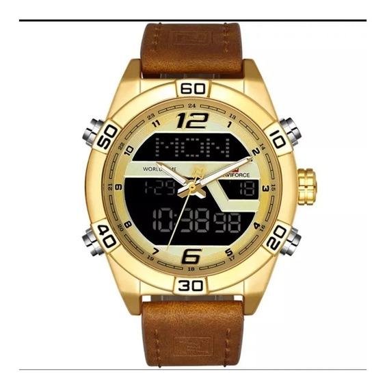 Relógio Masculino Naviforce 9128 Couro Legitimo