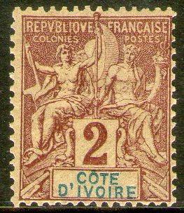 Costa De Marfil Sello Nuevo Navegación Y Comercio Años 1892+