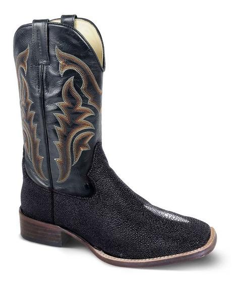 Bota Texana Masculina Exótica Couro Arraia Preto E Mustang