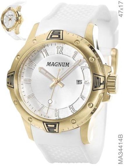 Relógio Magnum Branco Com Dourado Silicone Ma34414b
