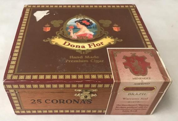 Caixa De Charuto Vazia Em Madeira Dona Flor 25 Coronas