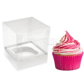 25 Caixinhas De Acetato 7,5x7,5x7,5 P/ Cupcake Mini Bolos