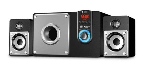 Caixa De Som 2.1 Bluetooth 60w 3 Subwoofer Biv/fm/cont.rem.