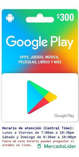 Imagen 1 de 2 de Tarjeta Google Play De 300 Pesos