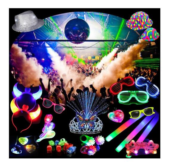 Combo Cotillón Luminoso Led 240 Artículos + Full Fluo Color