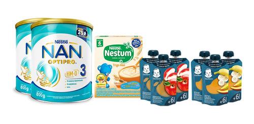Imagen 1 de 1 de Pack 2 Nan 3 Optipro + 1 Nestum Trigo Miel + 6 Gerber Pouch