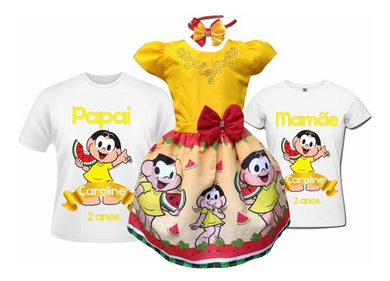 Vestido Magali + Camisetas Pai E Mãe + Tiara