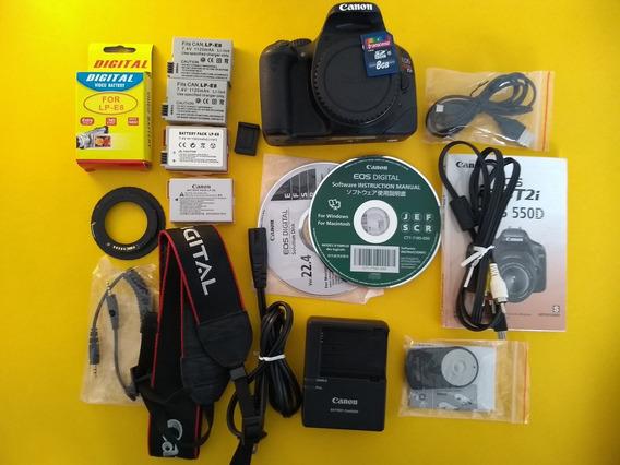 Câmera Dslr Cânon T2i 550d C Caixa, 4 Baterias E Acessórios