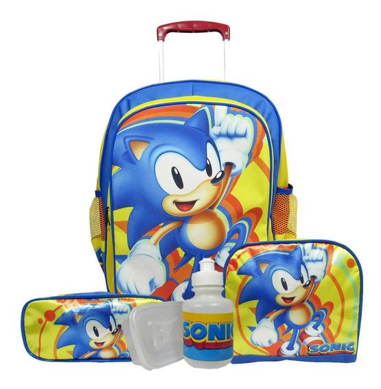 Kit Escolar Infantil Mochila Rodinhas Sonic Tamanho G