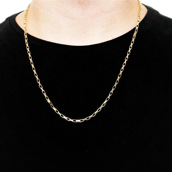 Corrente Masculina Cordão 60cm 3mm Quadrada Folheada Ouro