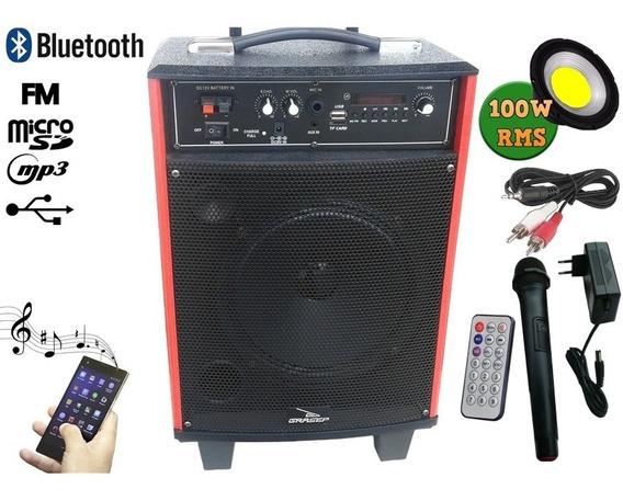 Caixa De Som Bluetooth 100w Portátil Rodinha Fm Usb Controle