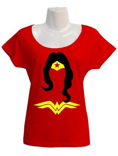 Imagen 1 de 2 de Polera Wonder Woman - Dc Comics - Escotada - Personalizada