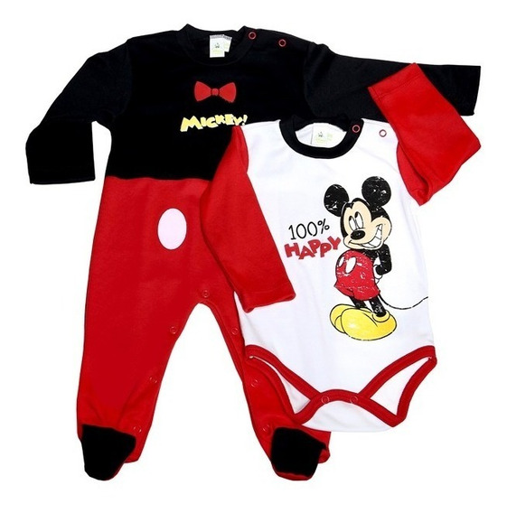 Set 2pz Pañalero Bb Ideal Disney Mameluco Estampado Mickey