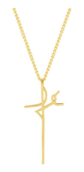 Colar De Aço Dourado (gold Ipg) Convex Fé 45cm 417645