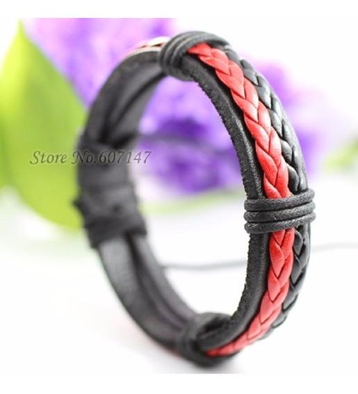 Pulseira Bracelete Masculina Tribal Couro Legítimo Vermelha