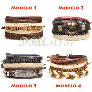 Kit Conjunto 4 Pulseiras Bracelete Masculina Feminina