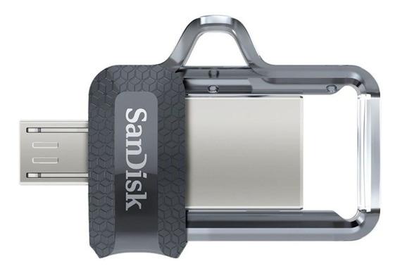 Pendrive SanDisk Ultra Dual m3.0 128GB preto/transparente