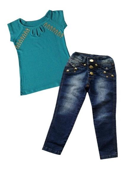 Roupa Conjunto Calça Jeans Infantil Bebe Blusa 1 Ano