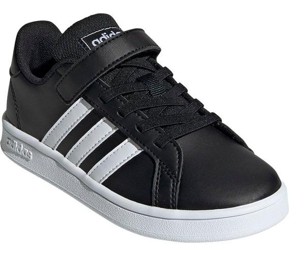 Tenis adidas Grand Court Negro Blanco Niños Ef0108