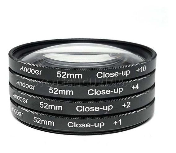 Filtro Macro 52mm Close Up Andoer +1 +2 +4 +10 Kit C/ 4 Filt