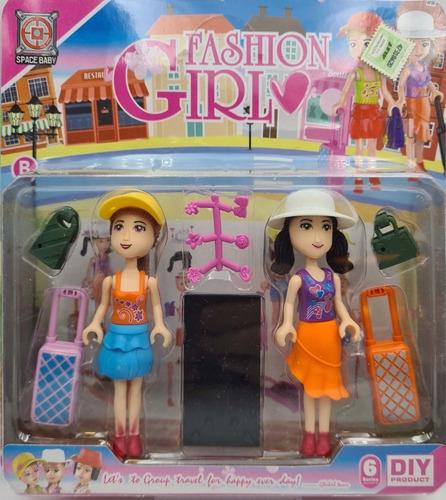 Dos 2 Muñecas Fashion Girl Balija Cartera Y Sombrero 10cm