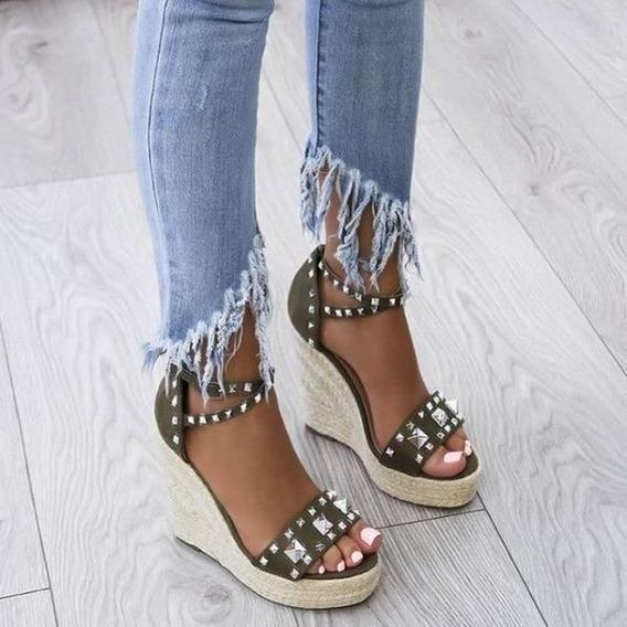 Zapatos Con Sandalias De Cuña Para Las Mujeres, Con Gruesas