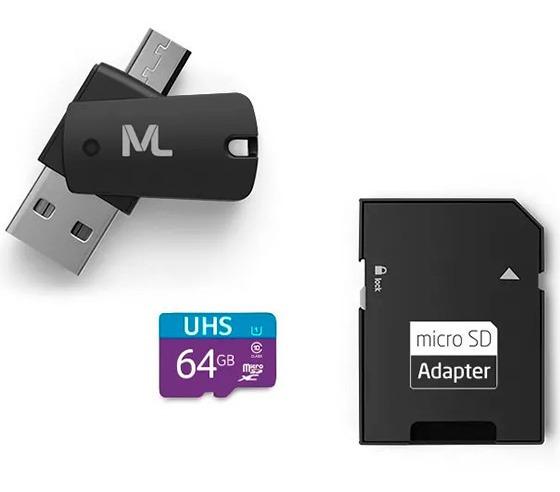 Cartão Sd Micro 64gb C/ 10+sd+adap P/ Pendrive Smatphone